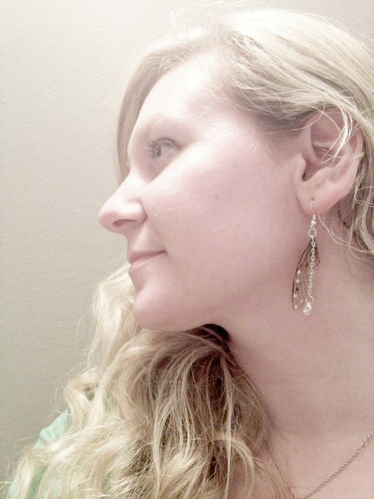 The Forest Fairy modeling Rather Pretty Faerie Wing Earrings
